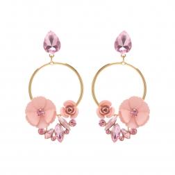 Náušnice Rosegarden Exclusive Gold Pink Swarovski Crystal