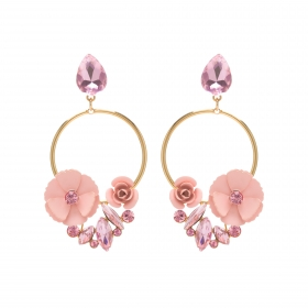 Náušnice Rosegarden Exclusive Gold Pink Swarovski Crystal