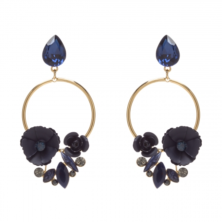 Náušnice Rosegarden Exclusive Dark Blue Swarovski Crystal