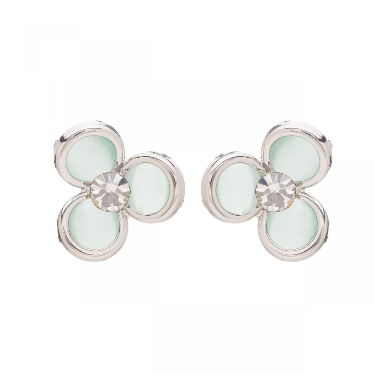 Náušnice Midi Flower Mint Silver Cateye