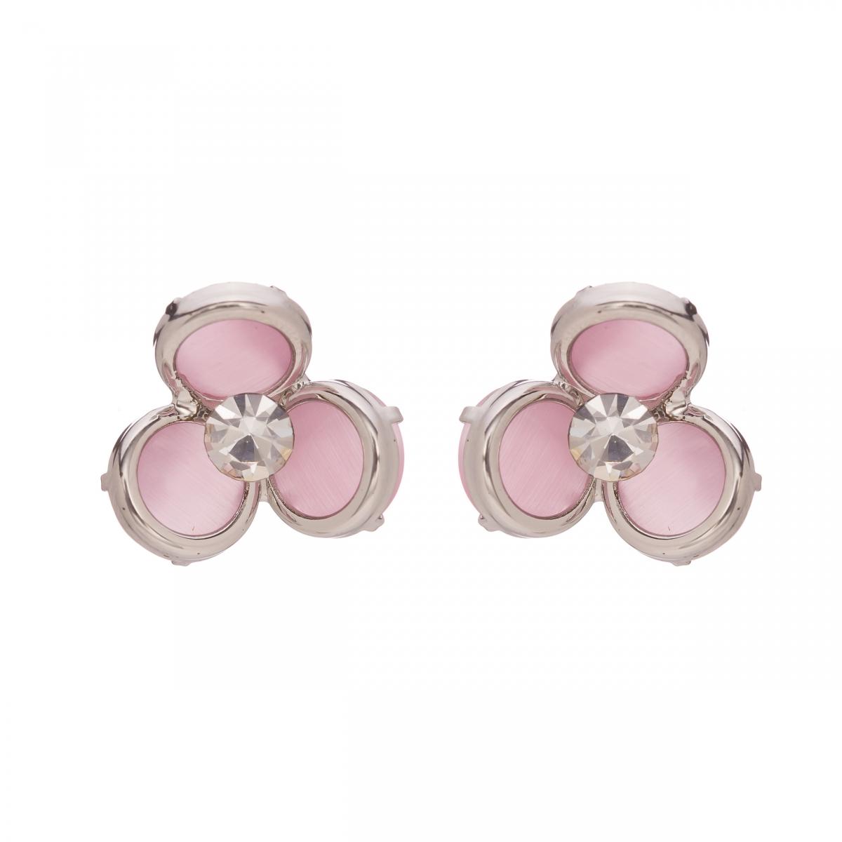 Náušnice Midi Flower Pink Silver Cateye