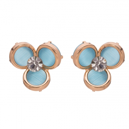 Náušnice Midi Flower Light Blue Rosegold Cateye