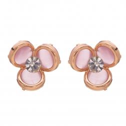 Náušnice Midi Flower Pink Rosegold Cateye