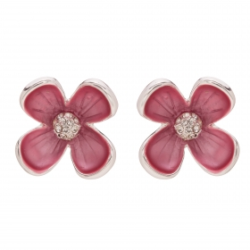 Náušnice Matte Flower Pink Silver