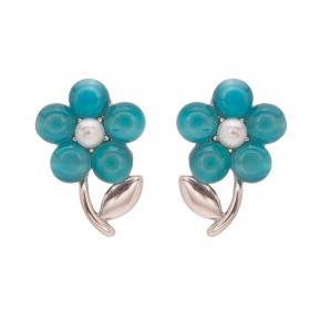 Náušnice Romantik Flower Turquoise Silver Cateye