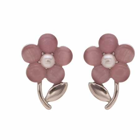 Náušnice Romantik Flower Purple Silver Cateye
