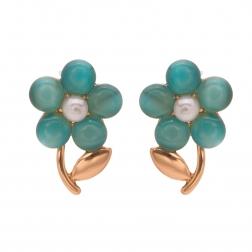Náušnice Romantik Flower Turquoise Rosegold Cateye