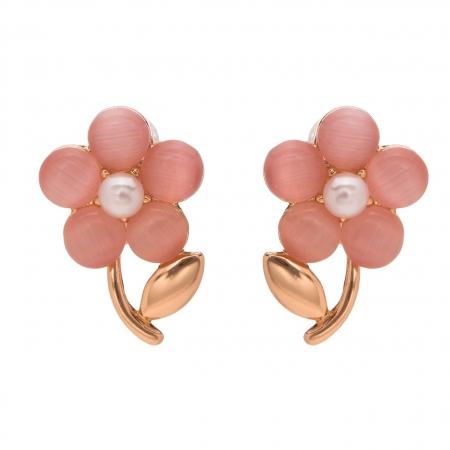 Náušnice Romantik Flower Pink Rosegold Cateye