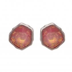 Náušnice Mimi Pink Opal Resin Stone Silver