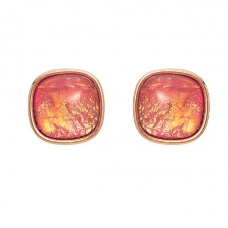 Náušnice Mimi Square Pink Opal Resin Gold