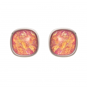 Náušnice Mimi Square Pink Opal Resin Silver