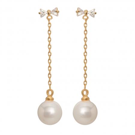 Náušnice Thin Long Pearl Zircon Gold
