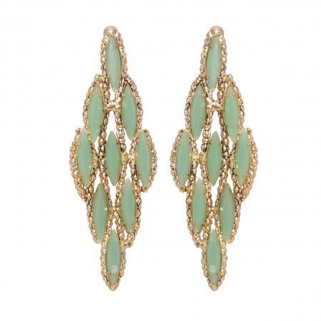 Náušnice Gina Light Green Crystals Pin Gold