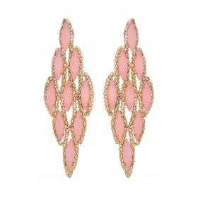 Náušnice Gina Pink Crystals Pin Gold