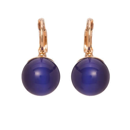 Náušnice Blue Balls Cat Eye Gold