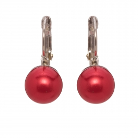 Náušnice Classic Red Pearl French Hook Silver