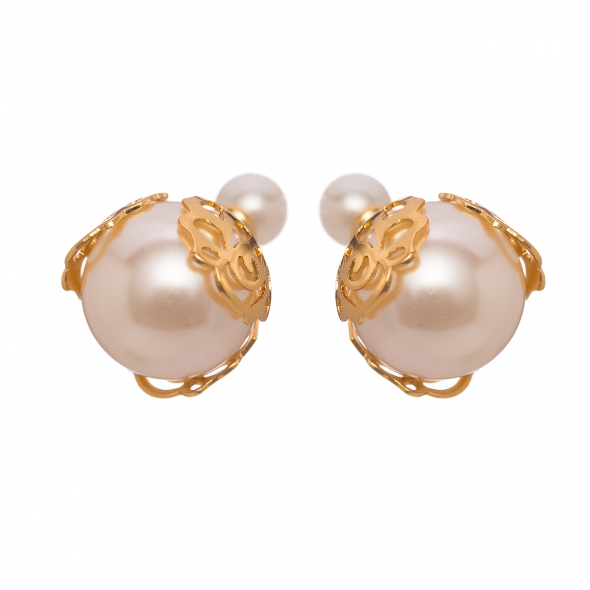 Náušnice Gold Lace White Pearl