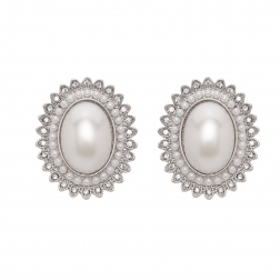 Náušnice Princess Oval White Pearl Post