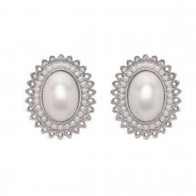 Náušnice Princess Oval White Pearl Post