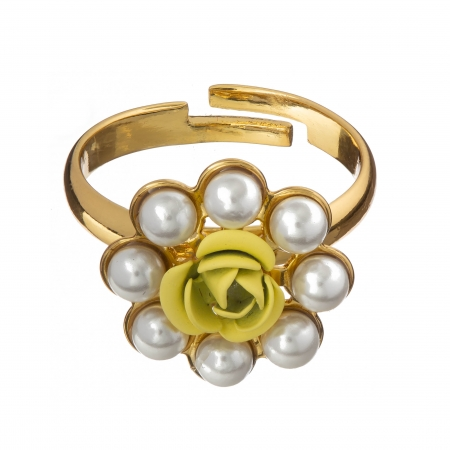 Prsteň Fine Romantic  Yellow Rose with White Pearls Gold