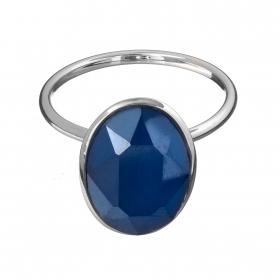 Prsteň Fine Exclusive Elegance Matt Dark Blue Stone Silver