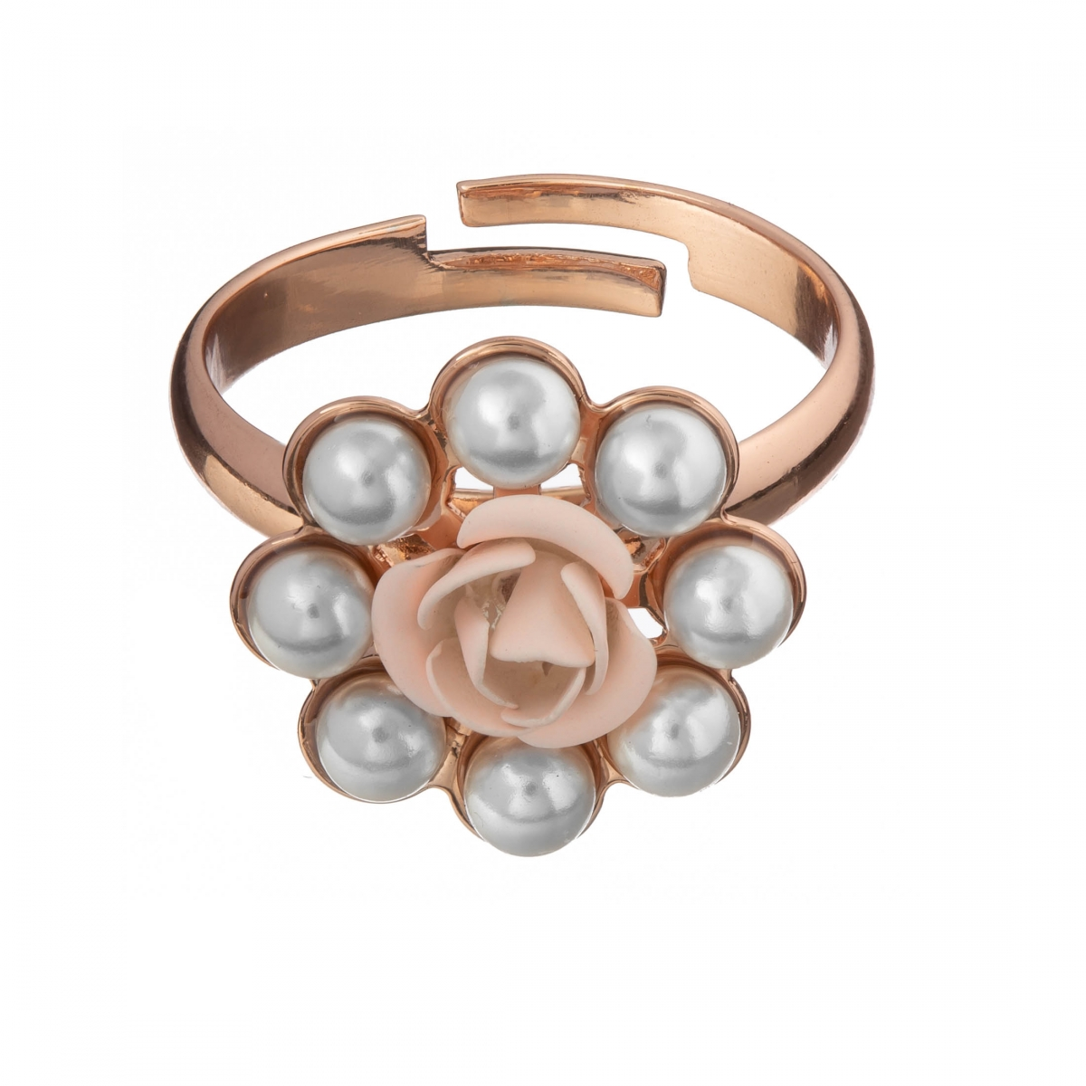 Prsteň Fine Romantic Pink Rose with White Pearls Rose Gold