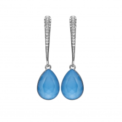 Náušnice Lilja Exclusive Elegance Blue Dropp Crystals Silver