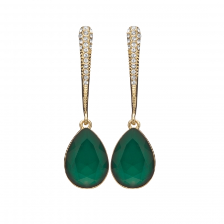 Náušnice Lilja Exclusive Elegance Smaragd Green Drop Crystals Gold
