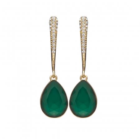 Náušnice Lilja Exclusive Elegance Smaragd Green Drop Crystals Gold