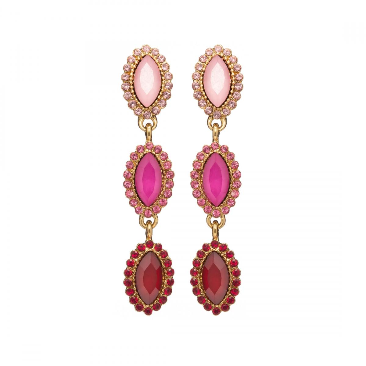 Náušnice Elise Fine Exclusive Elegance Fuchsia Crystals Gold