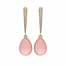 Náušnice Lilja Exclusive Elegance Pink Dropp Crystals Gold