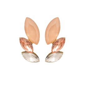 Náušnice Dita Exclusive Elegance Chic Modern Peach Crystals Gold