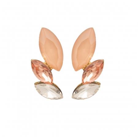 Náušnice Dita Exclusive Elegance Chic Modern Peach Crystals Gold