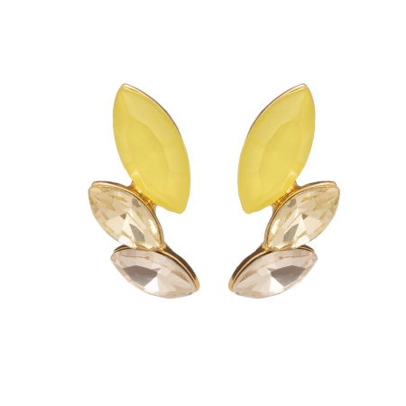 Náušnice Dita Exclusive Elegance Chic Modern Yellow Crystals Gold