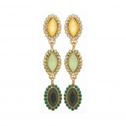 Náušnice Elise Fine Exclusive Elegance Green Crystals Gold