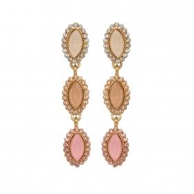 Náušnice Elise Fine Exclusive Elegance Pink Crystals Gold