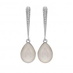 Náušnice Lilja Exclusive Elegance White Dropp Crystals Silver