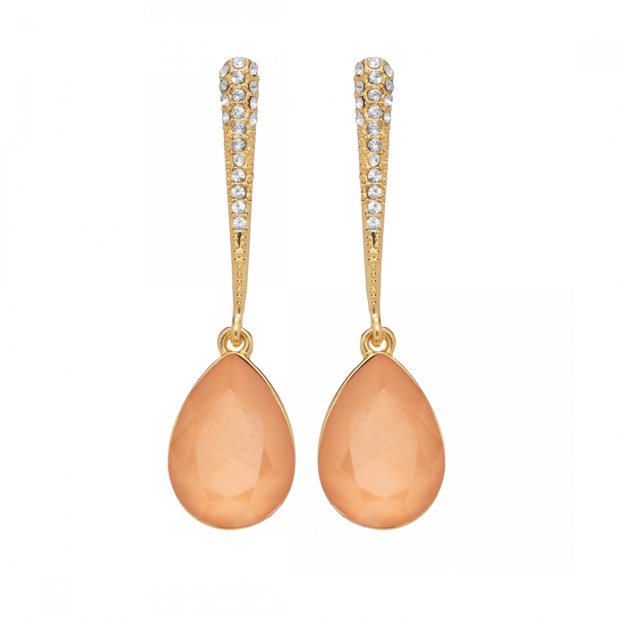 Náušnice Lilja Exclusive Elegance Peach Dropp Crystals Gold