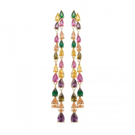 Náušnice Helena Fine Exclusive Elegance Multi Colour Zircon Crystals Gold