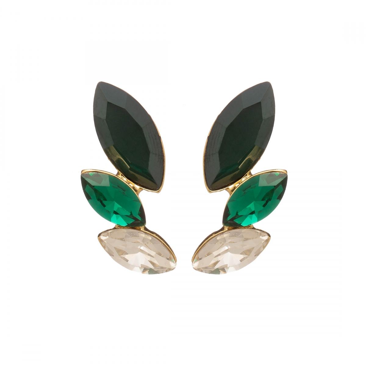 Náušnice Dita Exclusive Elegance Chic Modern Smaragd Green Crystals Gold