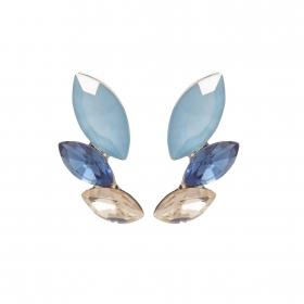 Náušnice Dita Exclusive Elegance Chic Modern Blue Crystals Silver