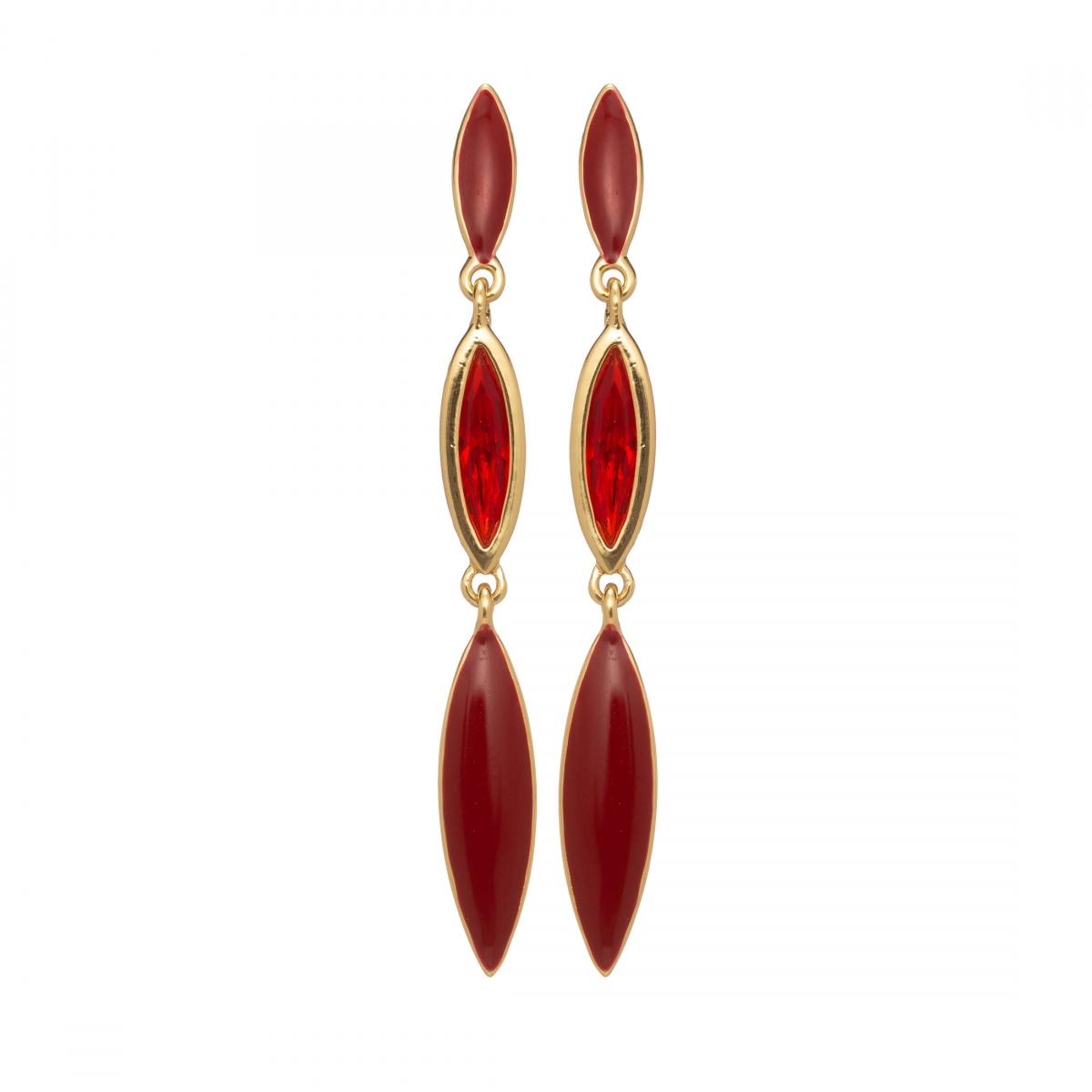 Náušnice Ingrid Fine Elegance Red Drop Line Gold