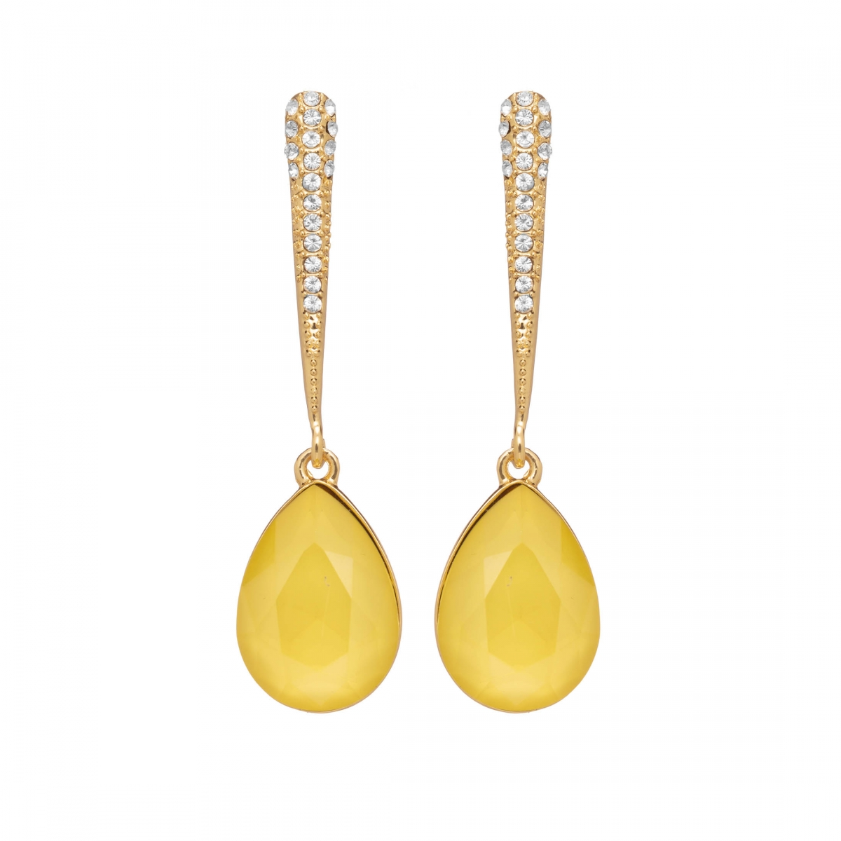 Náušnice Lilja Exclusive Elegance Yellow Dropp Crystals Gold