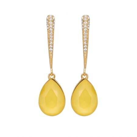 Náušnice Lilja Exclusive Elegance Yellow Dropp Crystals Gold