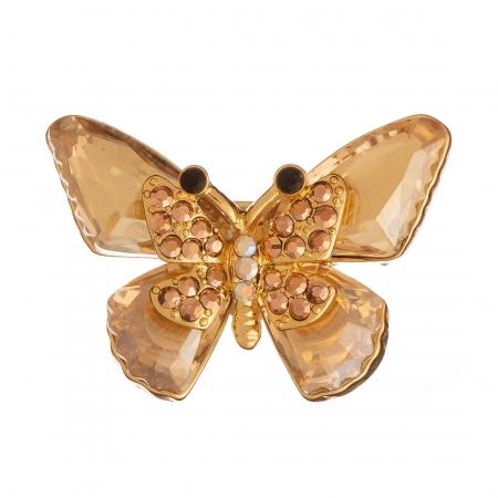 Brošňa Motýľ / Butterfly Shiny Gold Crystals
