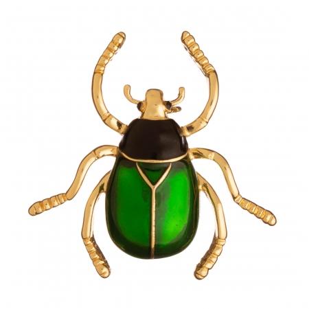 Brošňa Chrúst / May Bug Green Colour Gold