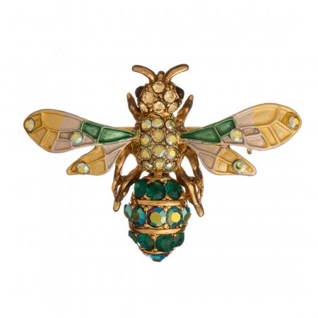 Brošňa Včela / Bee Yellow - Green Colours Crystals Gold