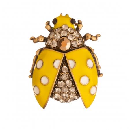 Brošňa Lienka / Ladybird Yellow Colour Crystals