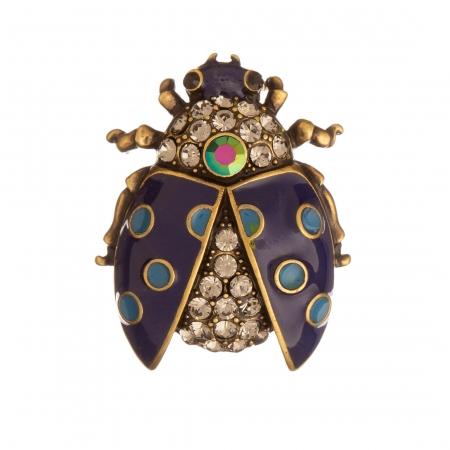 Brošňa Lienka / Ladybird Blue Colour Crystals