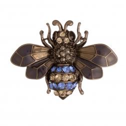 Brošňa Včela / Bee Blue Colour Crystals